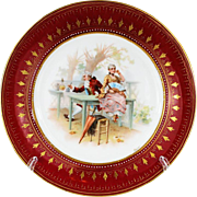 Royal Vienna  Style Cabinet Plate Hand Painted Details