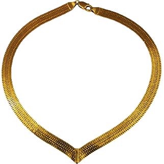 14K Gold Necklace Double Sided Riversible Italy