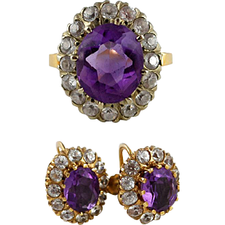 Vintage Amethyst White Sapphire 14K Gold Ring Earrings Set