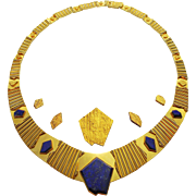 Unique Vintage Convertible Necklace 18K Gold Lapis 6 in 1, by Archibald Dumbar