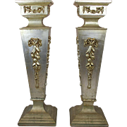 Pair of Vintage Italian Painted Wood Pedestals, circa 1980