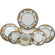 Vintage German Porcelain Dinner Set Service for Ten by KPM Krister, circa 1945