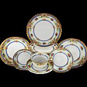 Vintage German Porcelain Dinner Set Service for Ten by KPM Krister, circa 1945