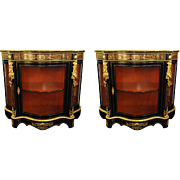Boulle Style  Display Cabinets Vitrines Vintage Pair