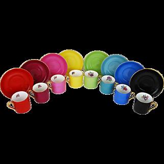 Vintage Demitasse Set Porcelain Multicolored Cups Saucers