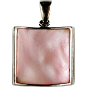 Vintage Mother of Pearl Sterling Silver Square Pendant