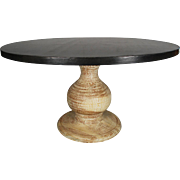 Contemporary Wood Pedestal Steel Round Dining Table