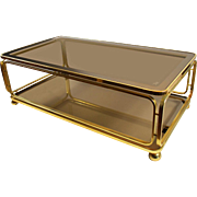 Vintage Smoked Glass Two Tier Coffee Table
