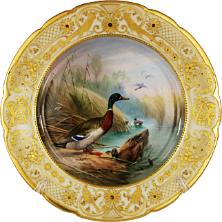 Ambrosius Lamm Game Dinner Plate Hand Painted Fowl Gilt