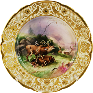 Ambrosius Lamm Game Dinner Plate Stags Gilt