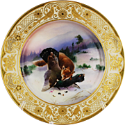 Dresden Game Dinner Plate Fox Fowl Gilt