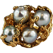 Baroque Pearl 14 Karat Gold Cocktail Ring Free-Form Abstract Large
