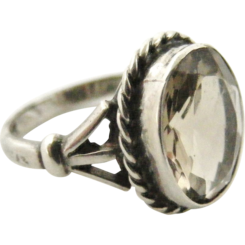 vintage sterling silver and smoky quartz ring from