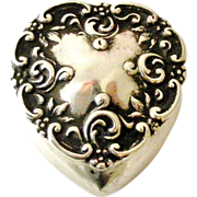 Sold to Jen Art nouveau English sterling silver heart trinket box 1906