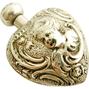 Lovely French antique art nouveau silver heart shaped cherub perfume bottle