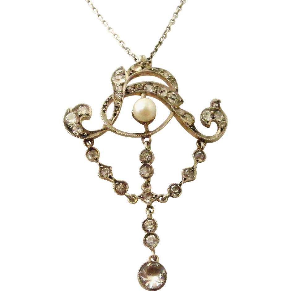 Art Nouveau Antique French Paste And Pearl Lavaliere