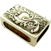 English sterling silver art nouveau match box cover 1904