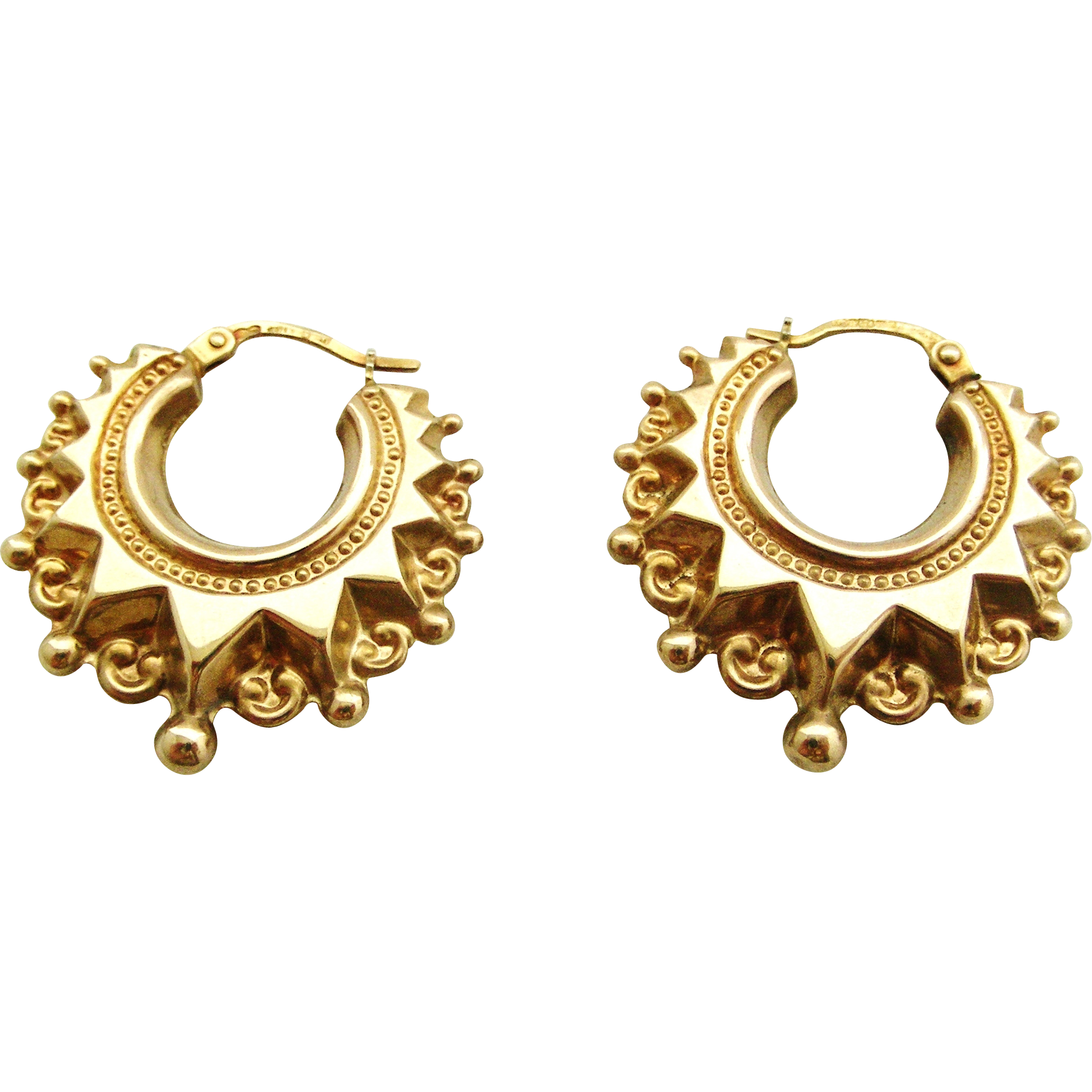 Vintage 9k Gold Victorian Style Creole Earrings Larger Size Sold Ruby Lane