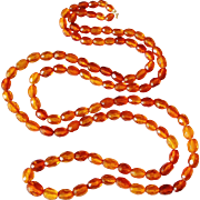 Art Deco 45 inch faceted real amber bead necklace