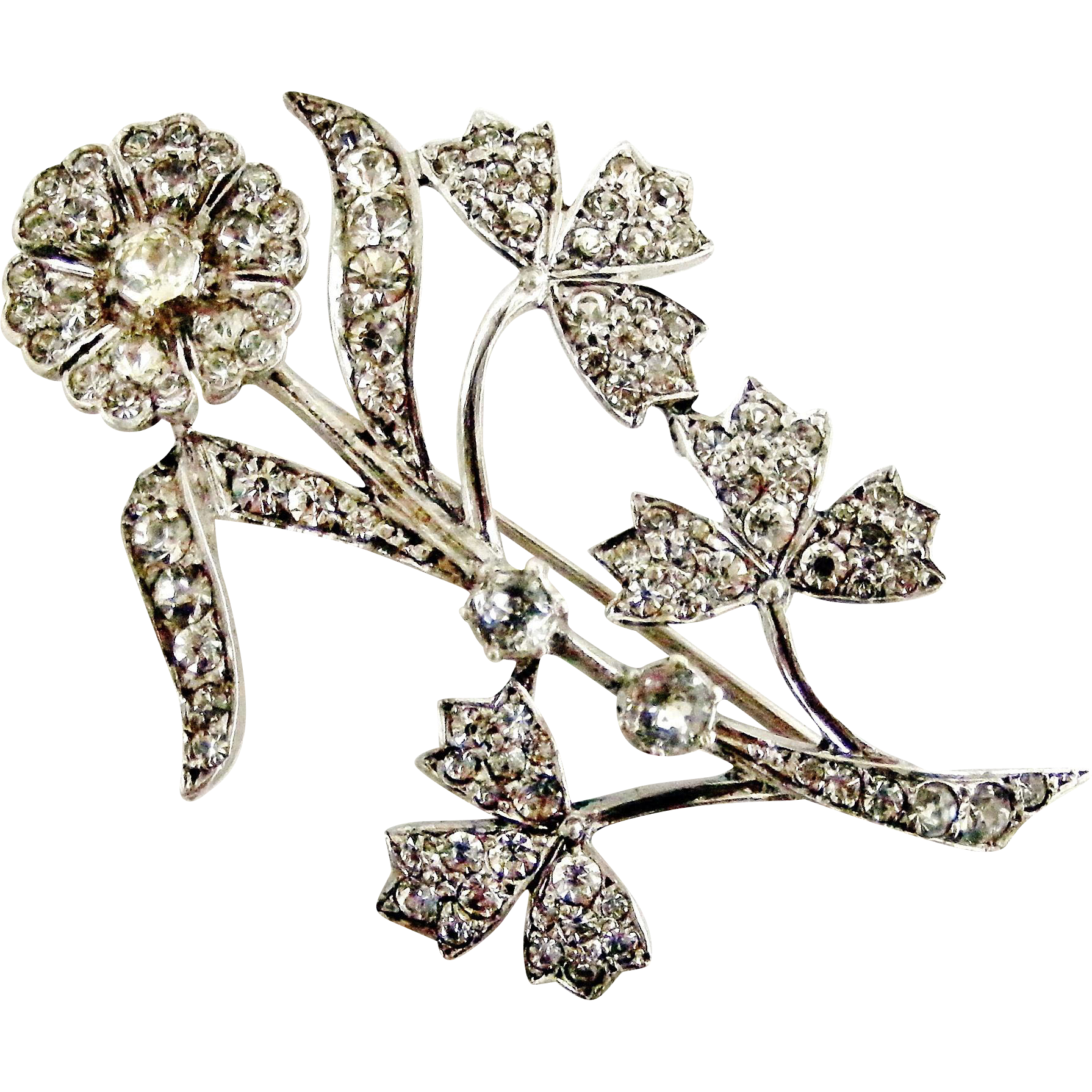 The Deco Haus Tagged Color Red: English Art Deco Sterling Silver Paste Flower Spray Brooch