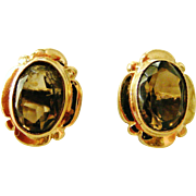 Vintage 9k gold smoky quartz stud earrings