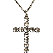 French antique silver paste cross and chain