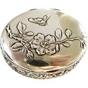 Art nouveau continental silver box with repousse honey bee and wild rose