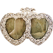 Large Edwardian sterling silver double heart photo frame