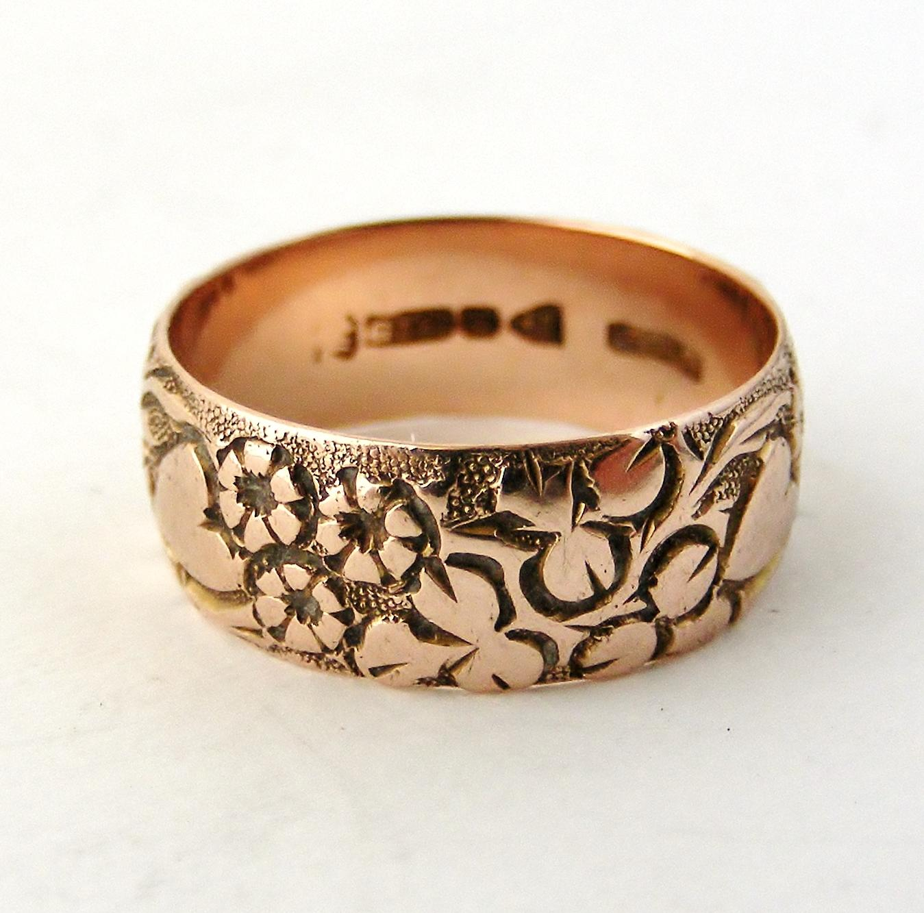 English Antique 9k Rose Gold Edwardian Carved Wedding Band Hearts And From L