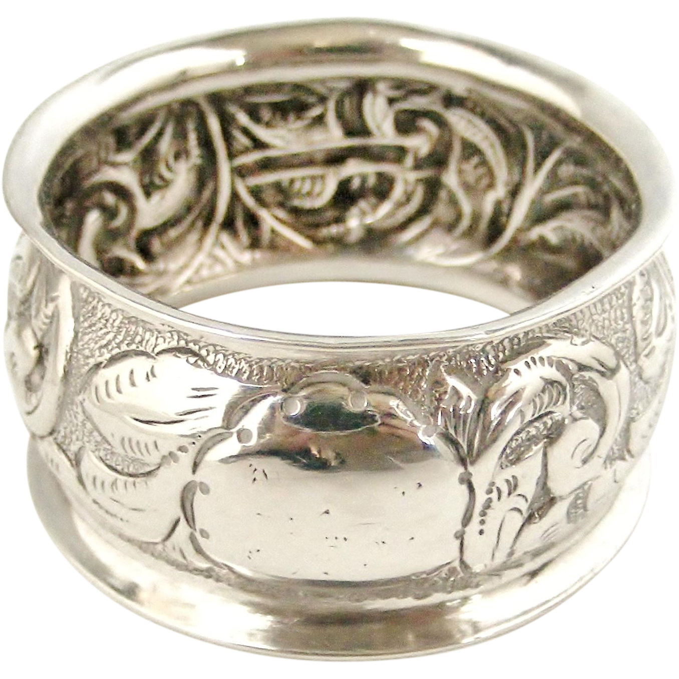 antique nouveau sterling silver napkin ring from