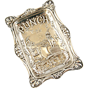 English sterling silver Victorian Mr Punch pin tray 1894