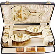 On Hold for Su, Museum quality art deco sterling silver and enamel dressing set , complete, perfect, boxed.