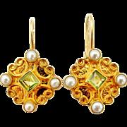 Vintage vermeil peridot and pearl lever back earrings