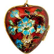 Gorgeous 19th century Chinese export cloisonne enamel heart box locket