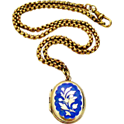 Early Victorian gilt pinchbeck and enamel locket and chain
