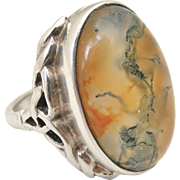 Vintage arts and crafts celtic sterling silver and moss agate ring