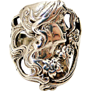 Art nouveau sterling silver lady ring