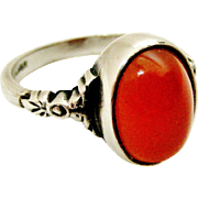 Pretty English sterling silver and carnelian arts and crafts ring with original box.
