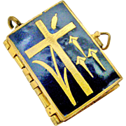 Antique brass and enamel stations of the cross book locket