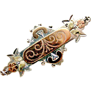 Antique Victorian sterling silver and rose gold sweetheart brooch