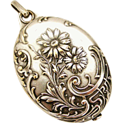 Antique French slide mirror locket in silver plate