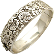 Liberty & Co sterling silver embossed hinged bangle