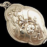 Beautiful French art nouveau slide locket, nasturtium flowers