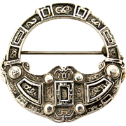 Vintage Scottish celtic penannular brooch in sterling silver