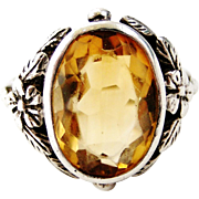Vintage sterling silver arts and crafts ring set with citrine