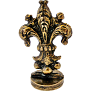 Art nouveau French desk seal letter F , fleur de lis