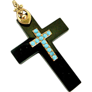 Antique Whitby jet , gilt brass and turquoise enamel cross.