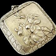 French antique art nouveau silver plated poudrier compact locket, Violets