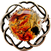 Vintage English sterling silver moss agate celtic brooch