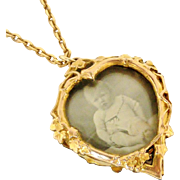 French art nouveau heart locket in rose gold fill on 18 inch chain